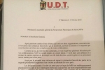 Lettre – Union Democratique Tchadienne(UDT)
